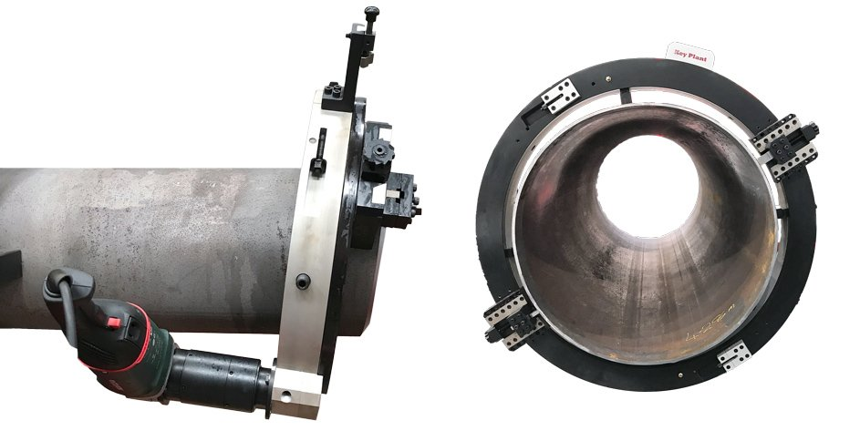 split frame clamshell for pipe cutting and bevelling